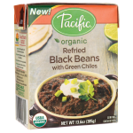 Pacific Natural Foods: Organic Refried Black Beans with Green Chiles (13.6 oz Pkg)