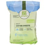 GrabGreen: Wet Dryer Sheets - Fragrance Free (32 Ct)